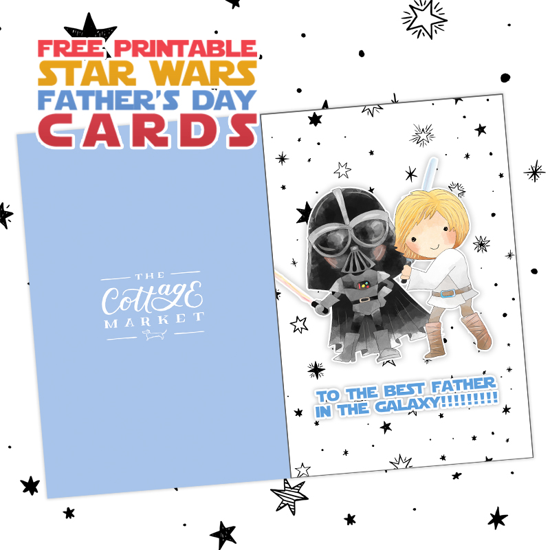 graphic relating to Star Wars Printable Cards called Absolutely free Printable Star Wars Fathers Working day Playing cards - The Cottage Market place