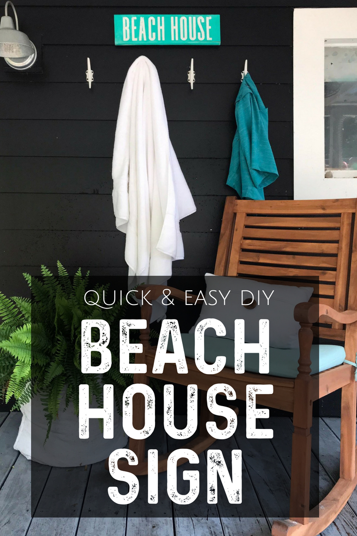 This DIY beach house sign is quick and easy to make.