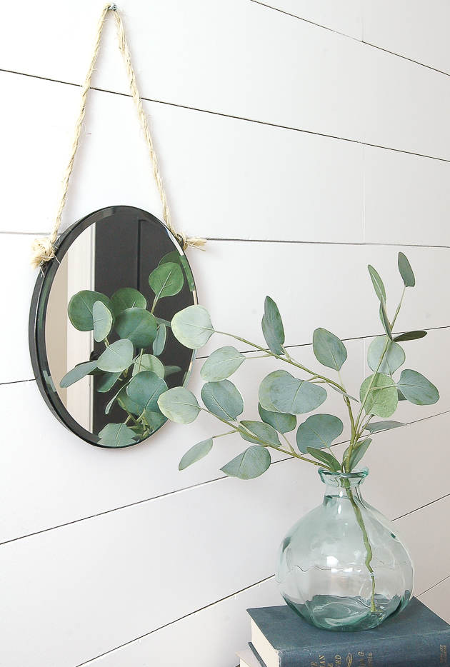 This chic DIY hanging rope mirror is coastal and farmhouse against the shiplap.