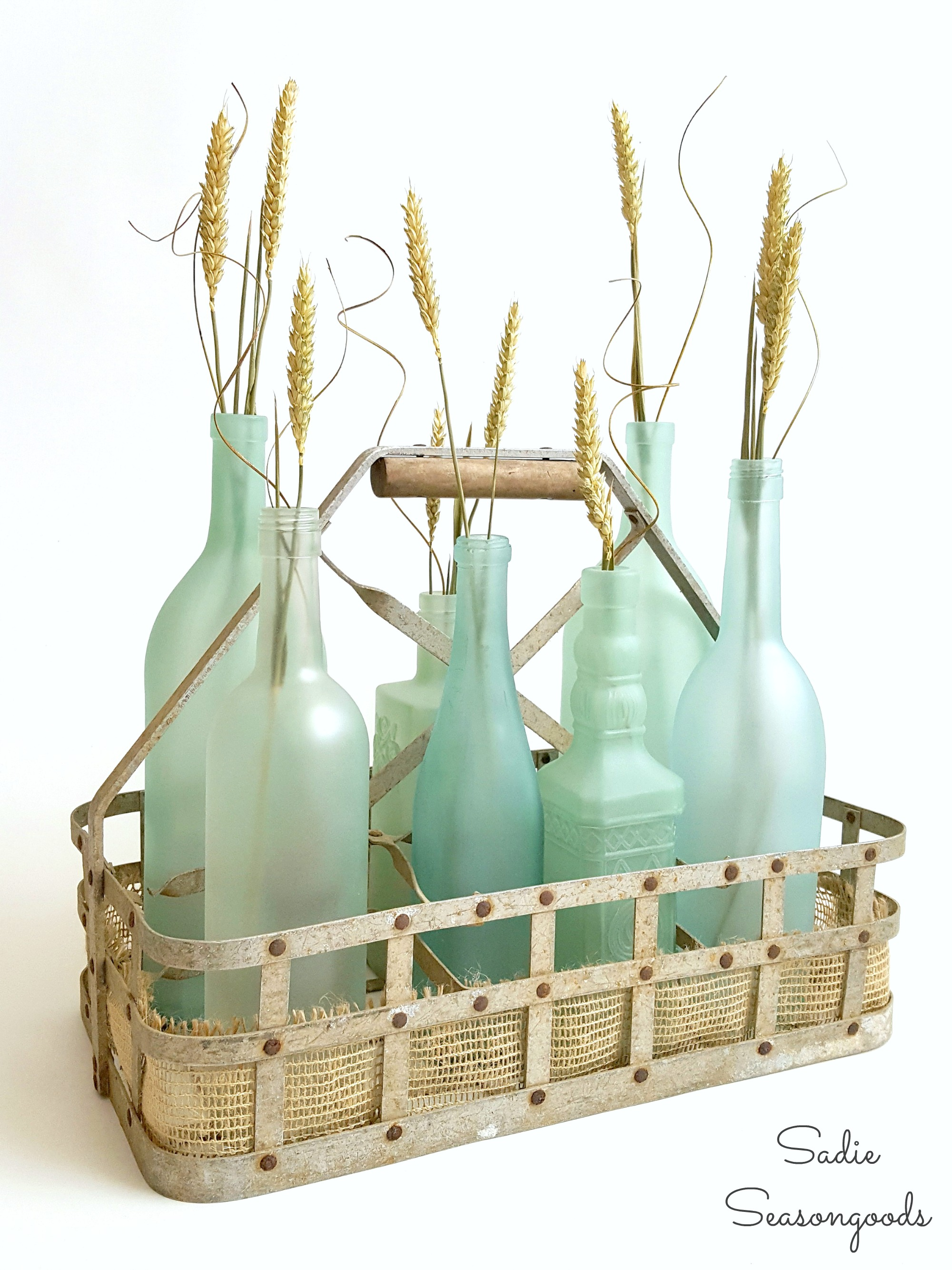 These re-purposed glass bottles are great coastal decor accents.