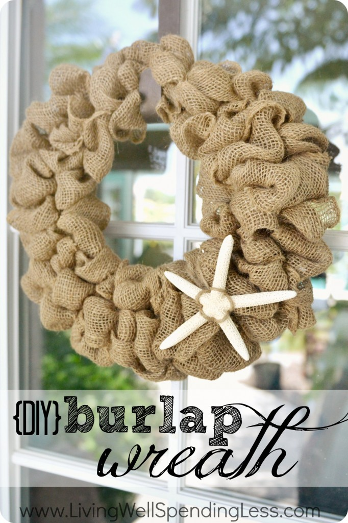 This DIY burlap wreath with a seashell is coastal and easy to make.