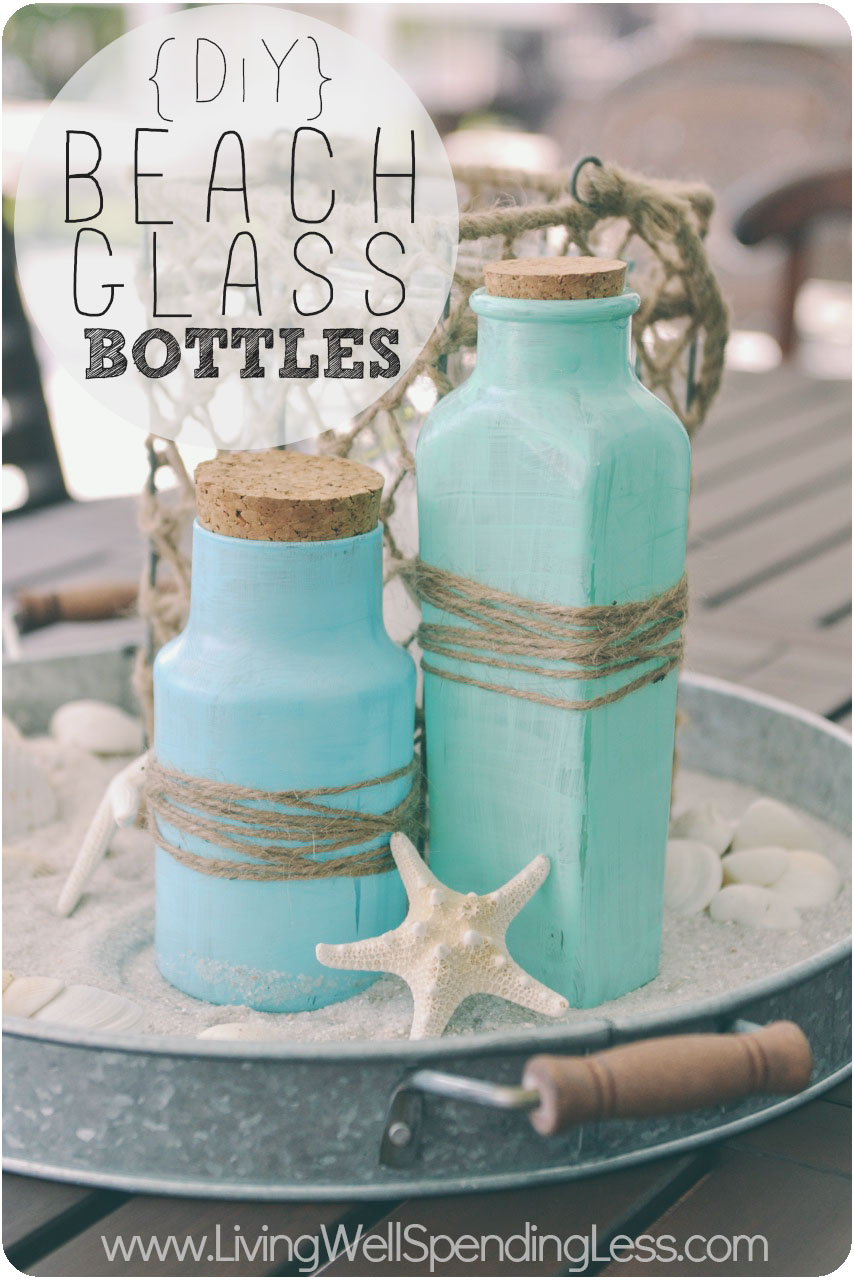 These DIY beach glass bottles in sand are coastal and add color to any space.