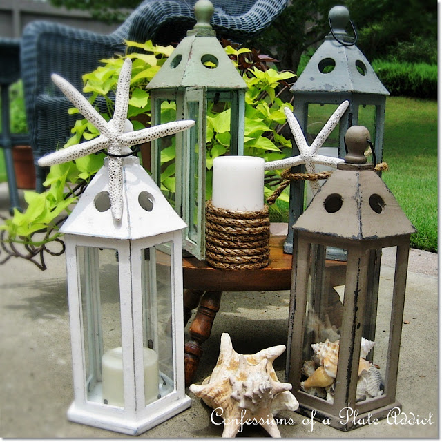 These repainted lanterns with seashells are the perfect mix of farmhouse and coastal.