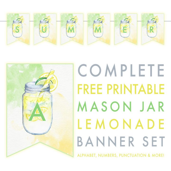 picture about Lemonade Signs Printable named Detailed Totally free Printable Mason Jar Lemonade Banner Mounted - The