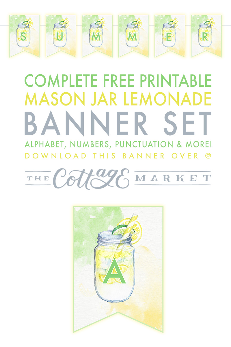 picture about Lemonade Signs Printable identify Extensive Absolutely free Printable Mason Jar Lemonade Banner Fixed - The