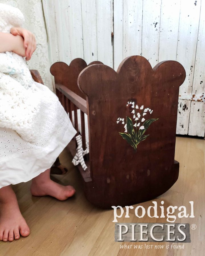 this thrift store find was recreated into an adorable doll cradle