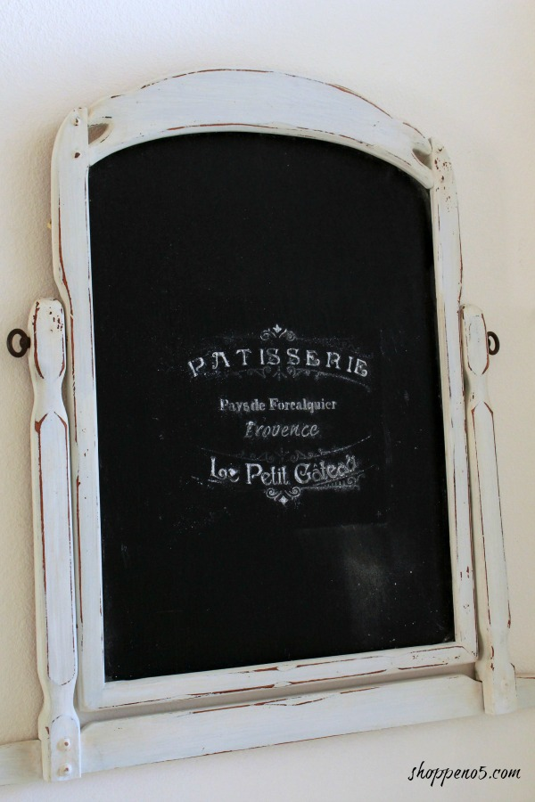 this vintage standing mirror was repurposed into a farmhouse style chalkboard