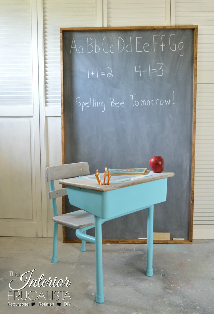This re-purposed chalk board works great in this renovated classroom.