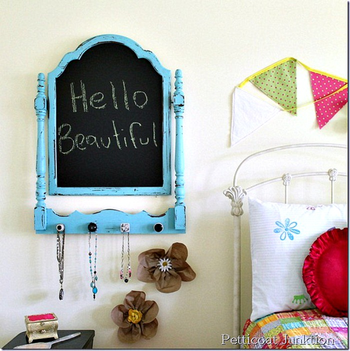 This rustic and bright farmhouse style chalkboard was made from an old broken mirror frame