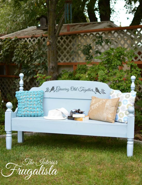 This adorable blue painted outside bench has that farmhouse feel.