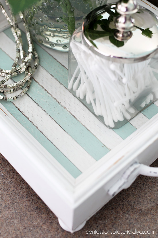 This striped serving tray was created from thrift store frames and dowels