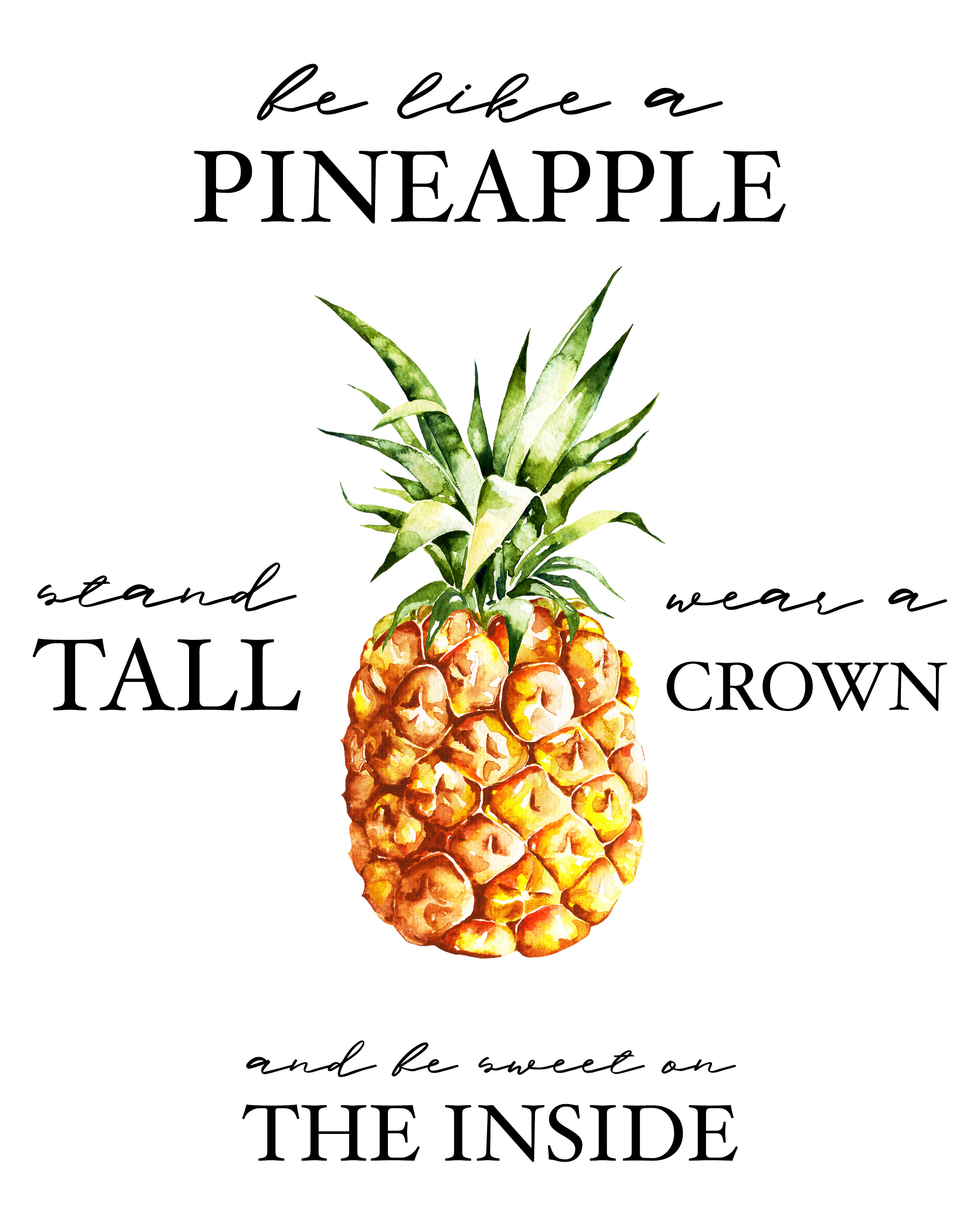 graphic relating to Free Printable Pineapple identified as Free of charge Printable Pineapple Wall Artwork - The Cottage Market place