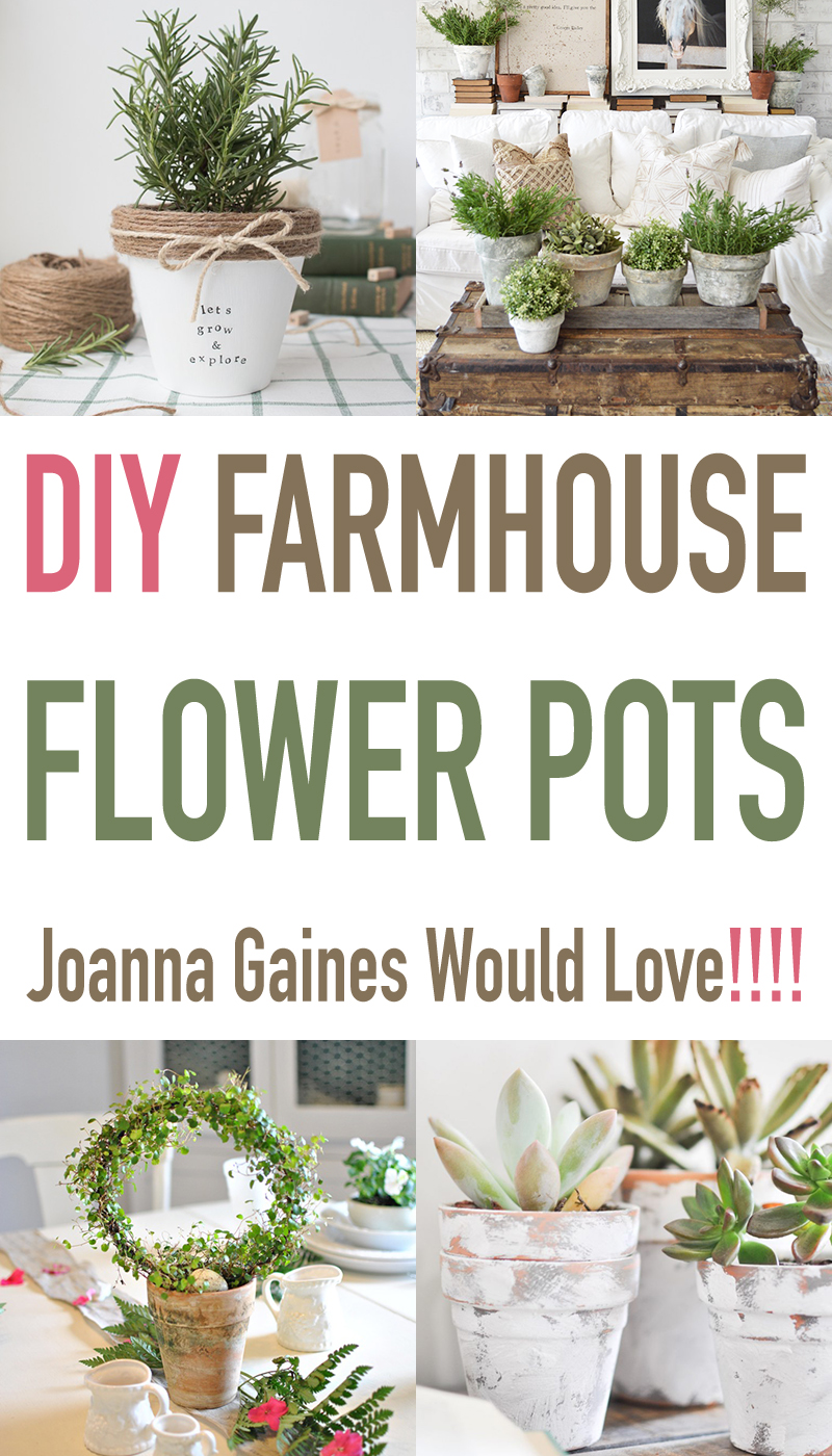 These DIY farmhouse flower pots are easy and so cute.