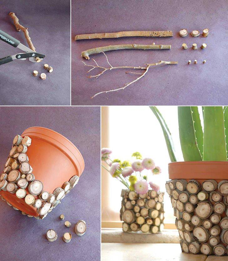This DIY flower pot with pieces of wood is rustic and unique.