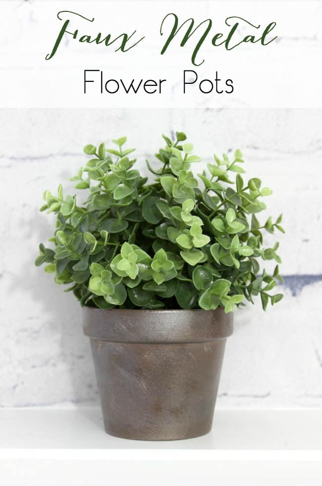 This faux metal flower pot looks like the real thing.