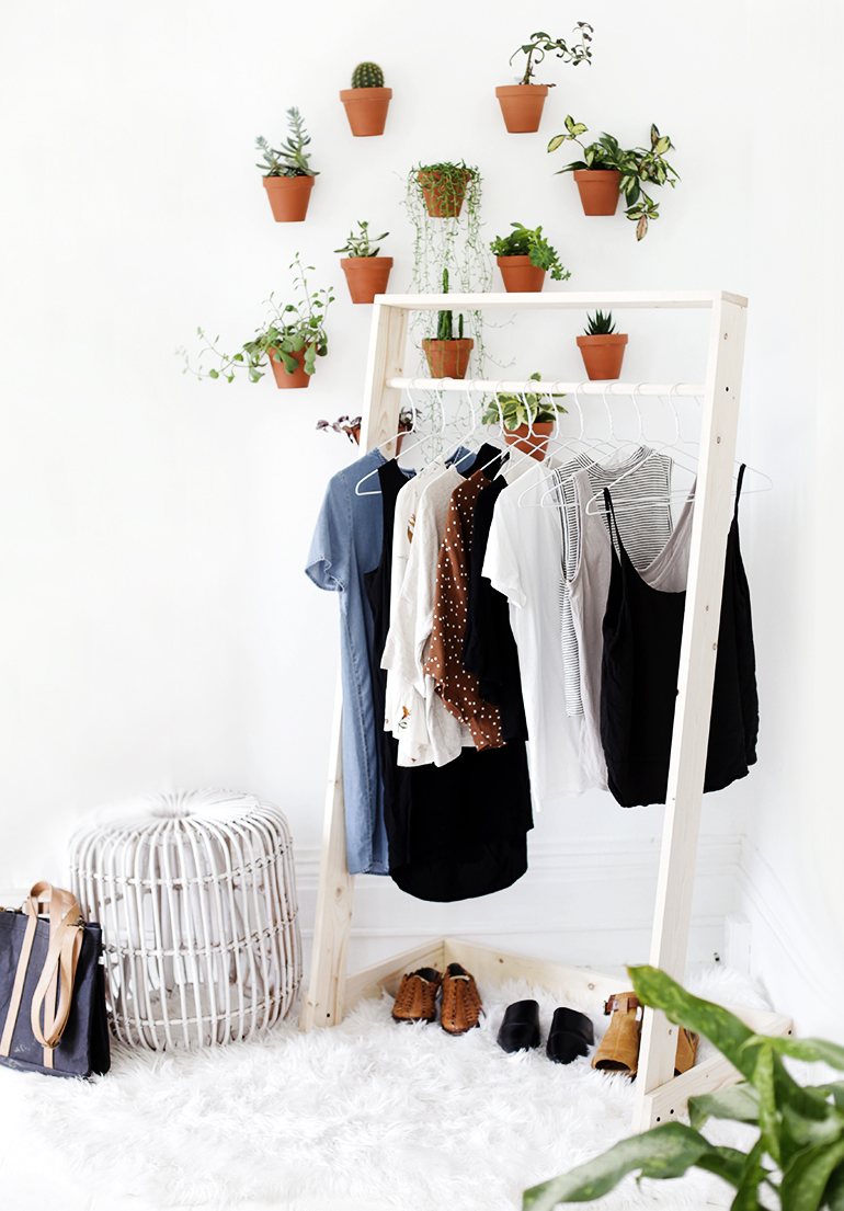 This boutique style clothes rack is a perfect way to prep for the day