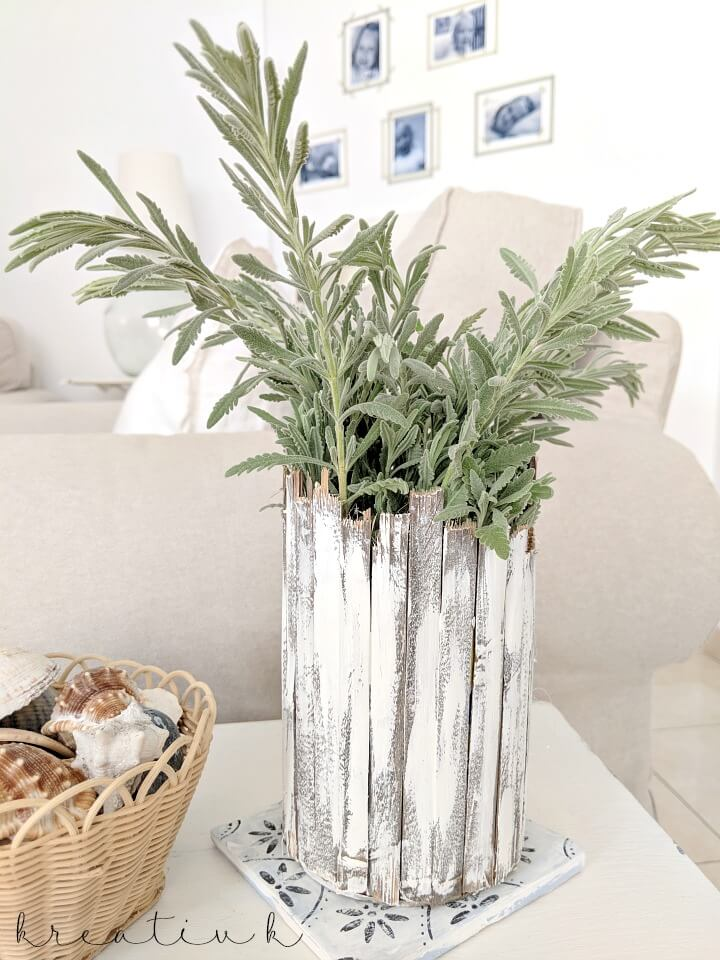 This weathered white planter is a simple farmhouse diy
