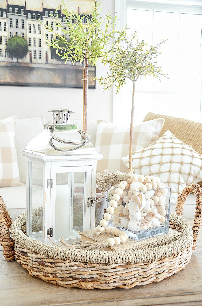 This coastal style coffee table centerpiece combines so many stylish elements