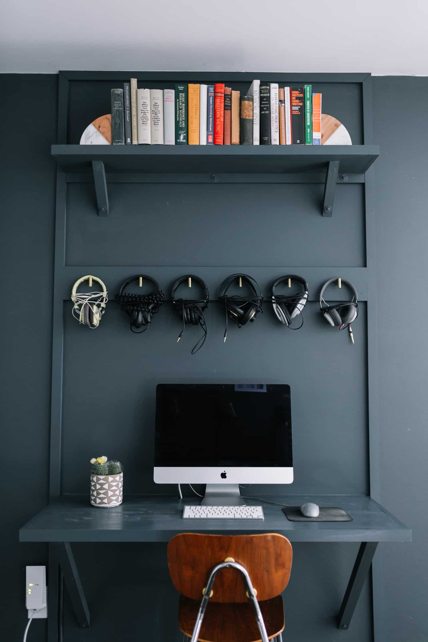 These headphone holders on the wall are functional and genius.