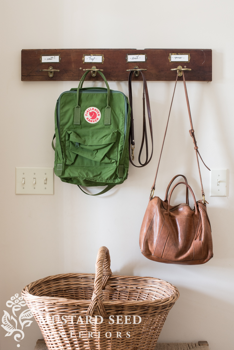 This farmhouse style rack is a perfect resting place for coats and purses
