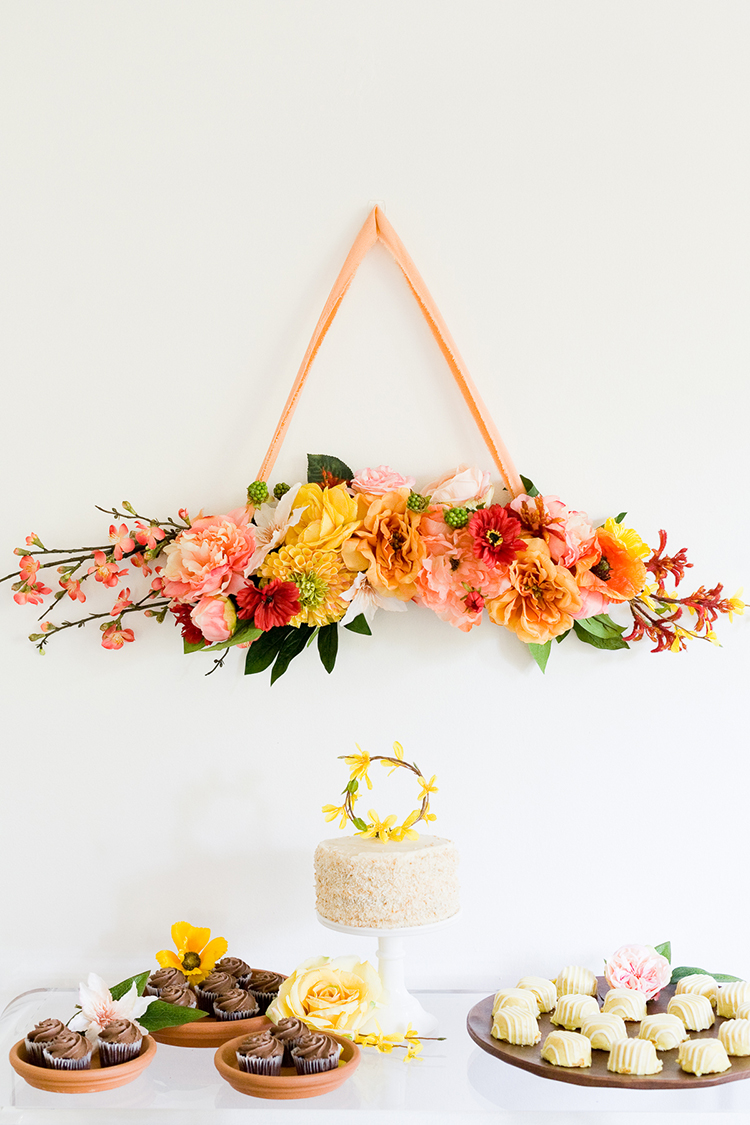 This creative floral wreath is party ready with bright spring colors