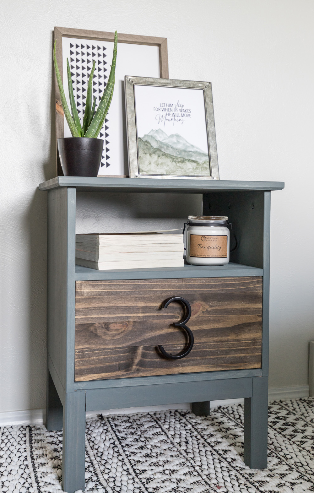 This Tarva IKEA dresser turned into a lovely gray painted night stand