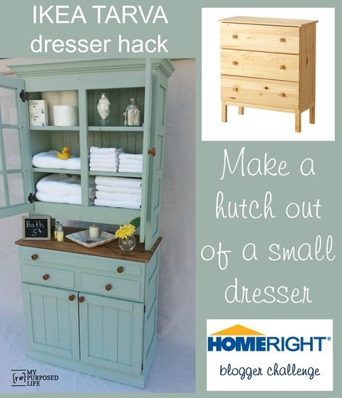 This Tarva dresser got a new life as a china cabinet hutch with some gorgeous paint