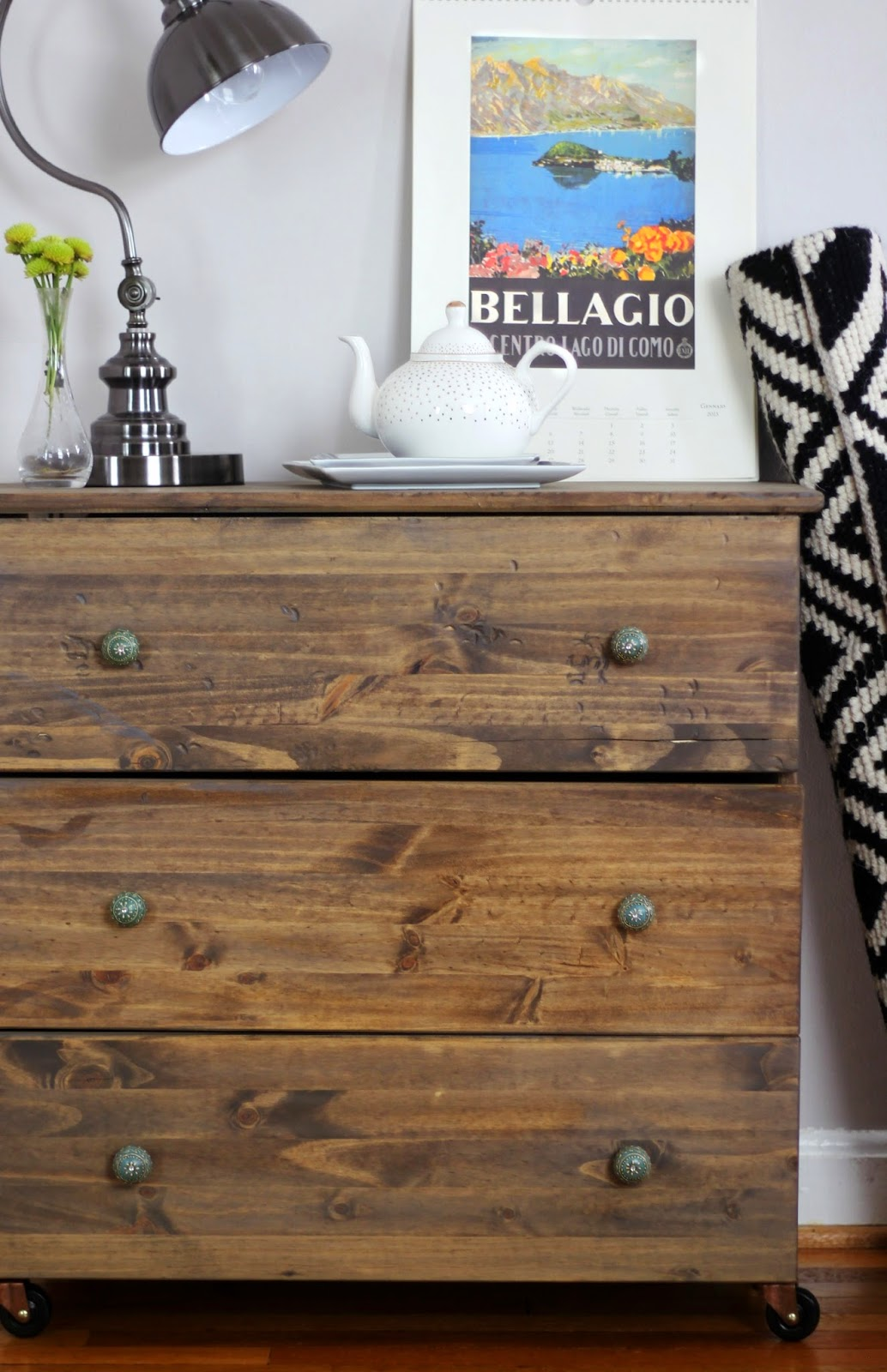 This tarva dresser got some new wood stain and now looks amazing as a bedroom dresser