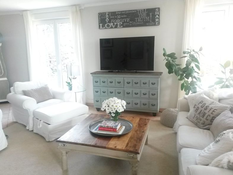 This totally transformed Tarva IKEA dresser is now a stunning TV stand and cabinet