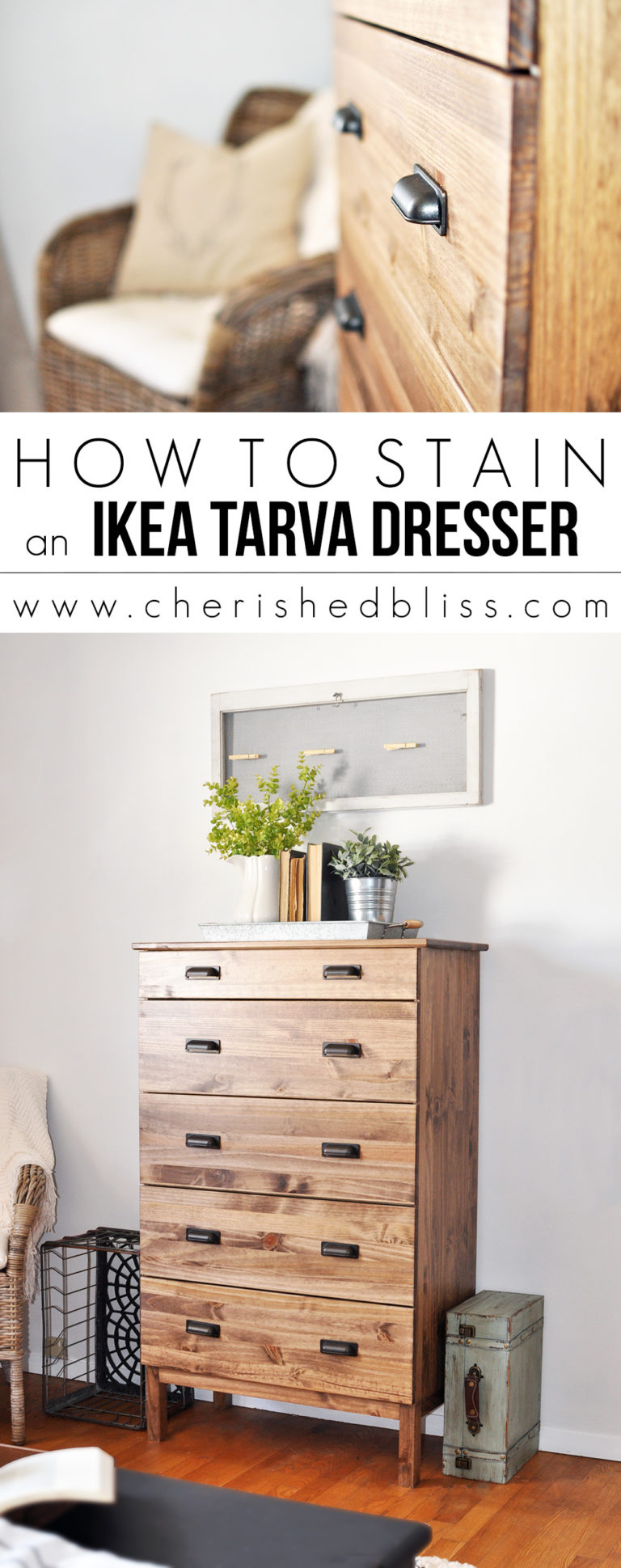 This tutorial on how to stain a Tarva IKEA dresser is simple and fast - a perfect makeover