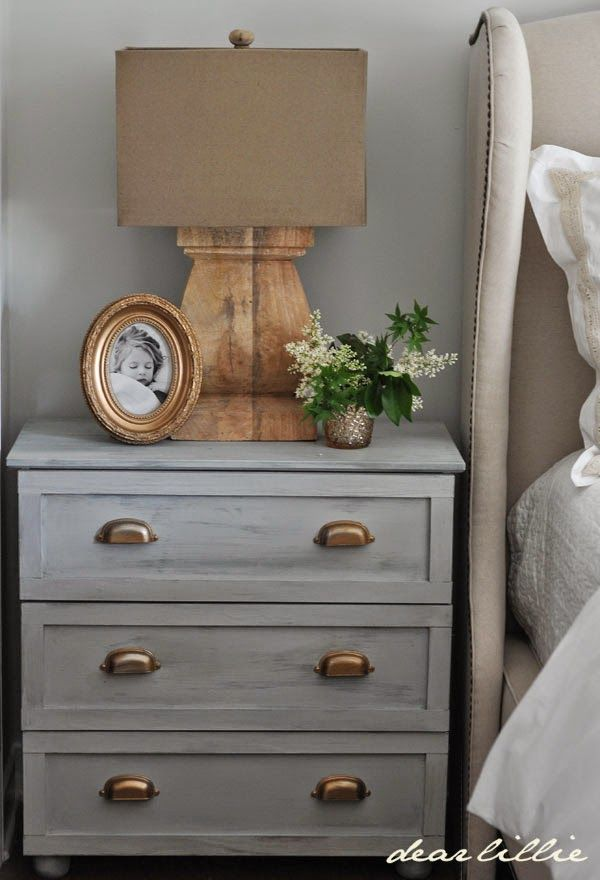 This Tarva dresser makes a great night stand with some paint and new hardware