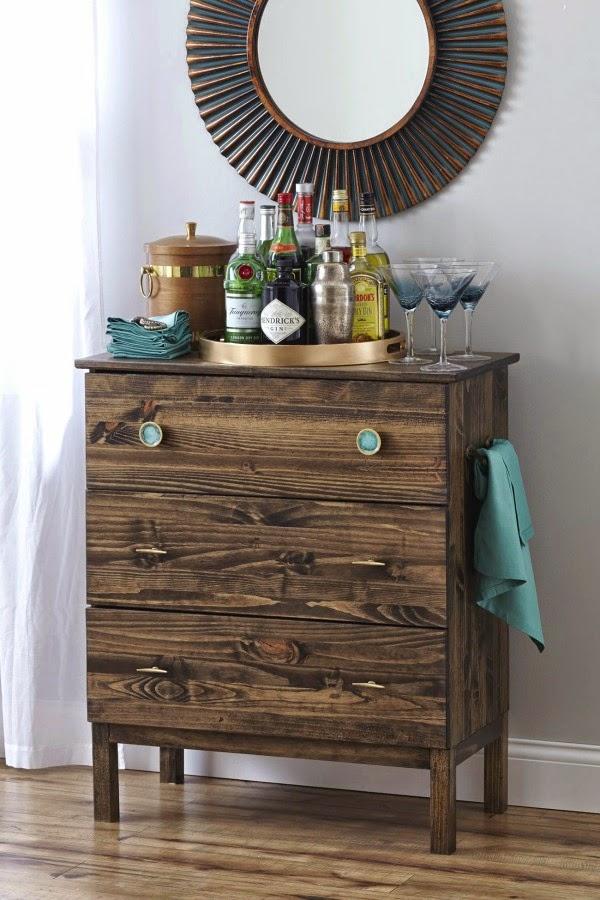 This Tarva IKEA dresser makes a classy cocktail bar