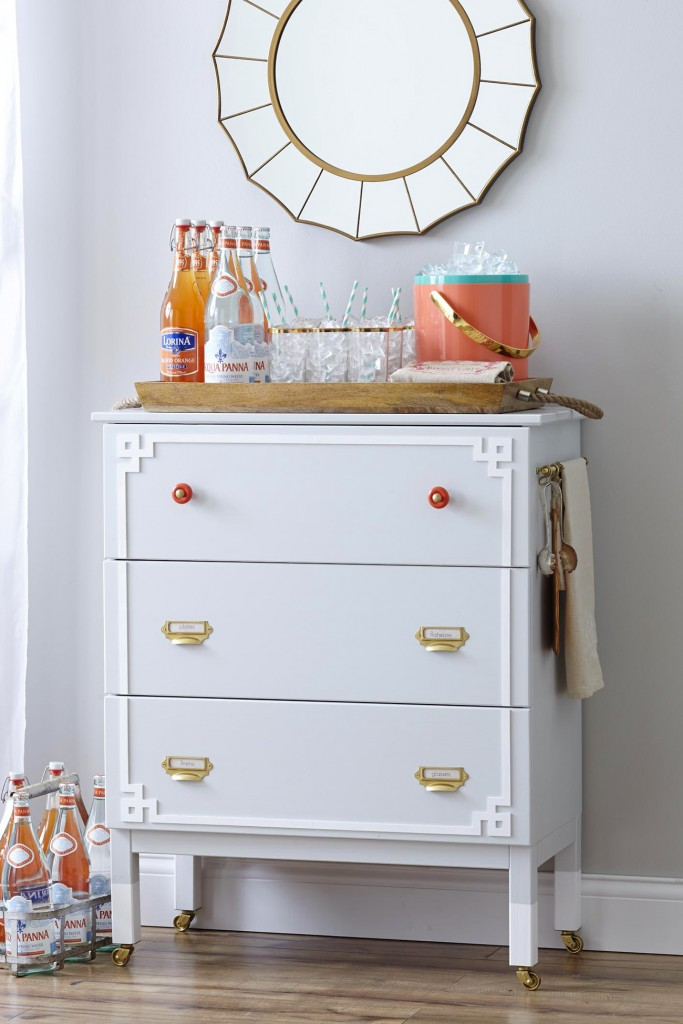 Tarva dressers from IKEA are the perfect cocktail bars - such a great functional makeover