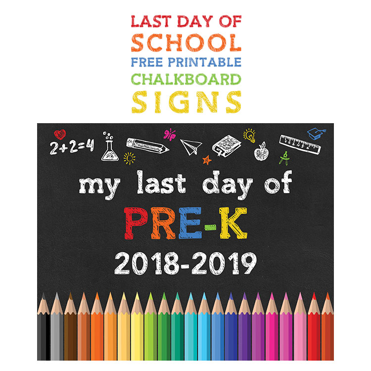 photograph regarding First Day of Pre K Sign Printable referred to as Again towards Faculty No cost Printable Chalkboard Symptoms - The Cottage