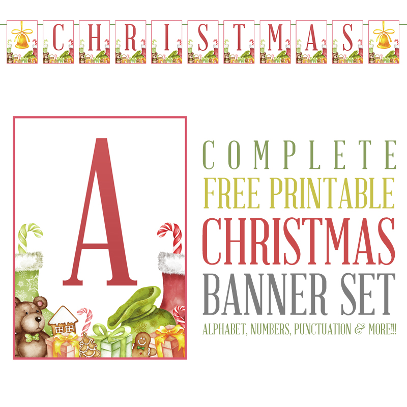 graphic relating to Printable Christmas Banner named Detailed Free of charge Printable Xmas Banner Established - The Cottage