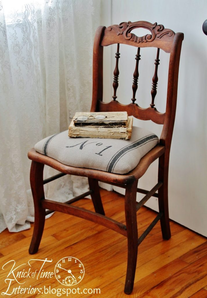 This old chair just needed some new stain and unique fabric to be a perfect thrift store makeover