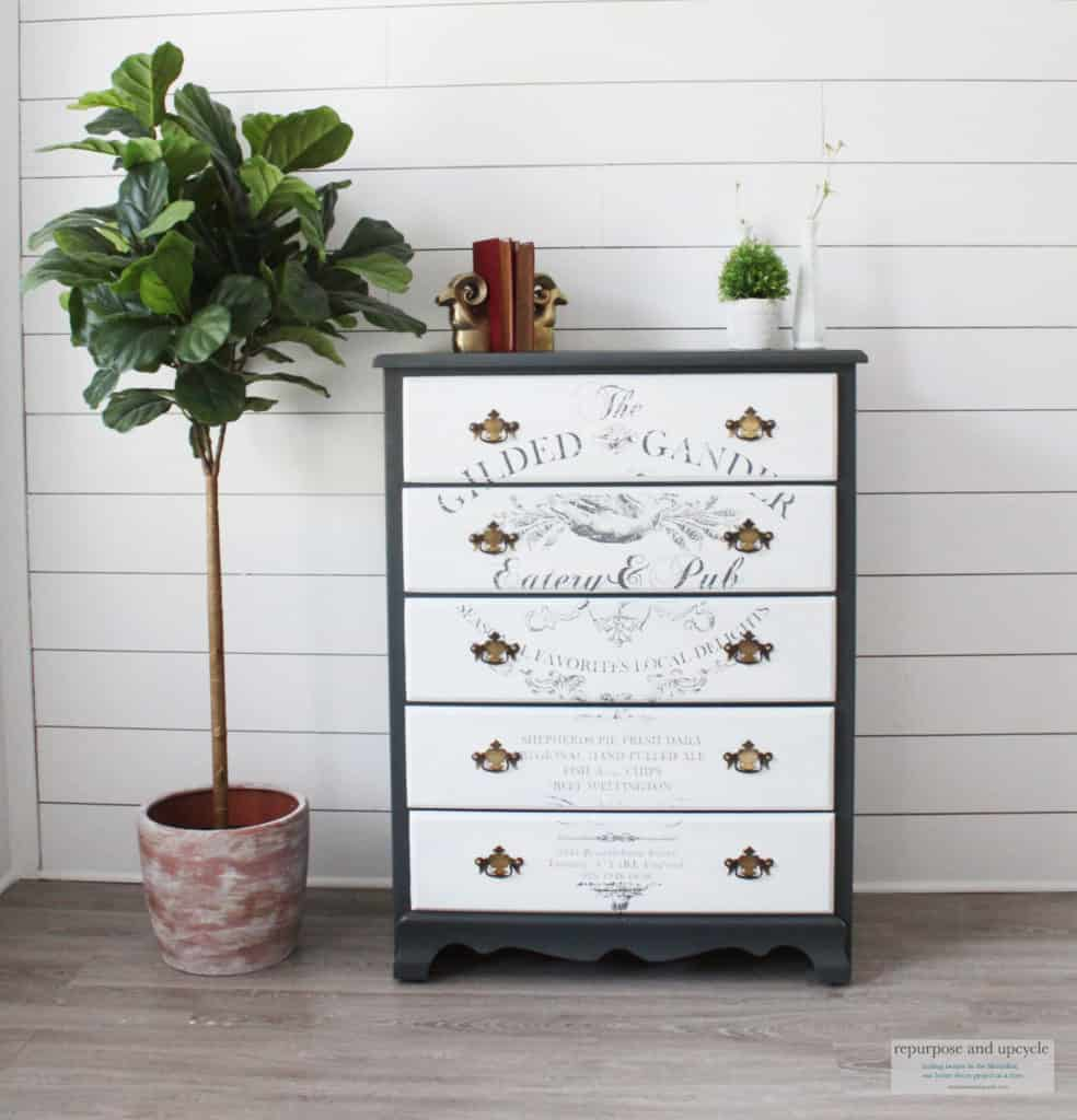 This old dresser got a makeover with some paint and stencils
