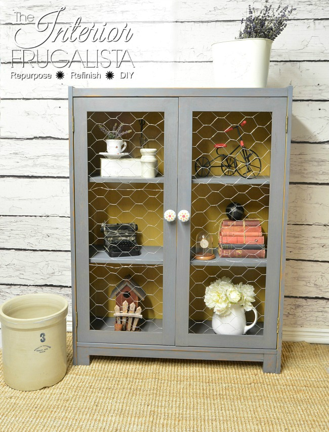 This DIYer took chicken wire to the inside doors of this cabinet to make a truly unique farmhouse style piece