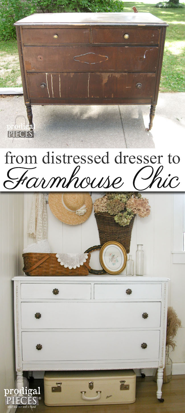 This distressed dresser is now a chic farmhouse piece