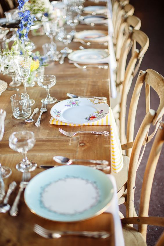 The thrift store is the perfect place to find eclectic place settings. If you're stocking up on dishes for your first apartment or home, plates and cutlery, glasses, and more are always easy to find at thrift stores