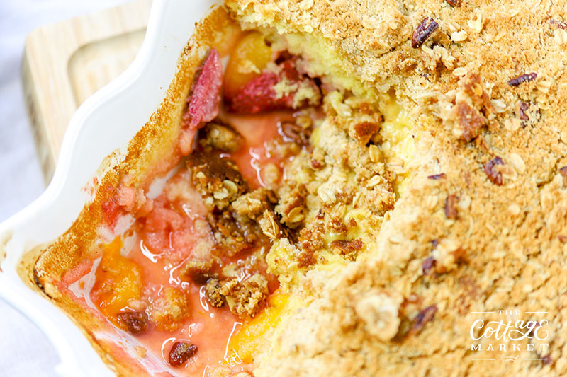 Looking for something quick, easy, sweet and delicious??? Well then whip up a Strawberry and Peach Dump Cake with a Crisp Topping! YUM!
