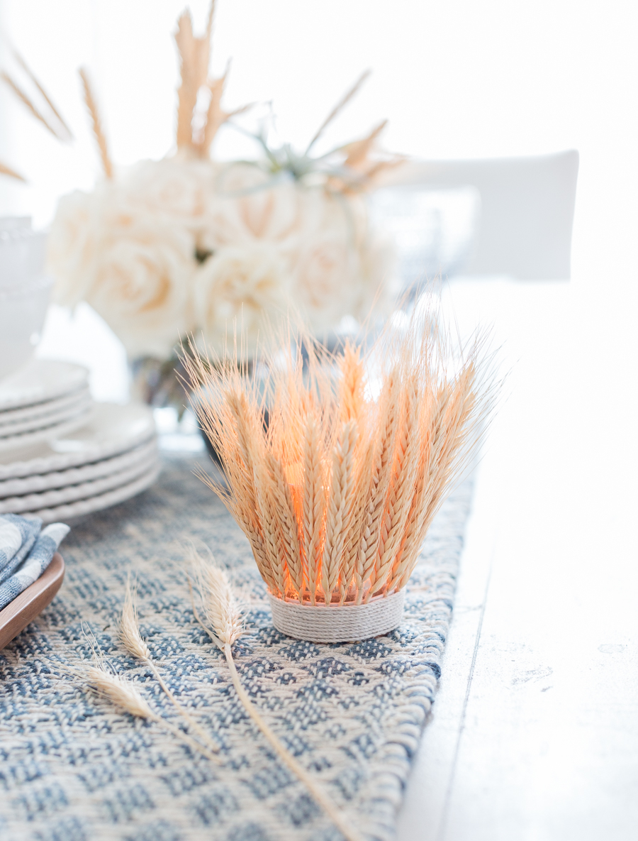 These DIY candle holders made from pieces of wheat are great for a farmhouse.