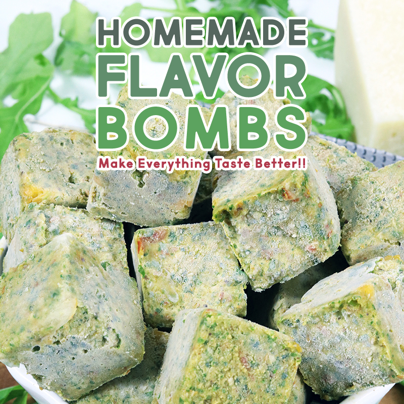 These flavor packed Homemade Flavor Bombs are just what your Sauces, Stews, Soups, Vegetables, Noodles and Stir Fry Needs! Packed with herbs, vegetables, cheese, sundried tomatoes, olive oil and more! Any where you need some extra flavor... drop some Flavor Bombs!