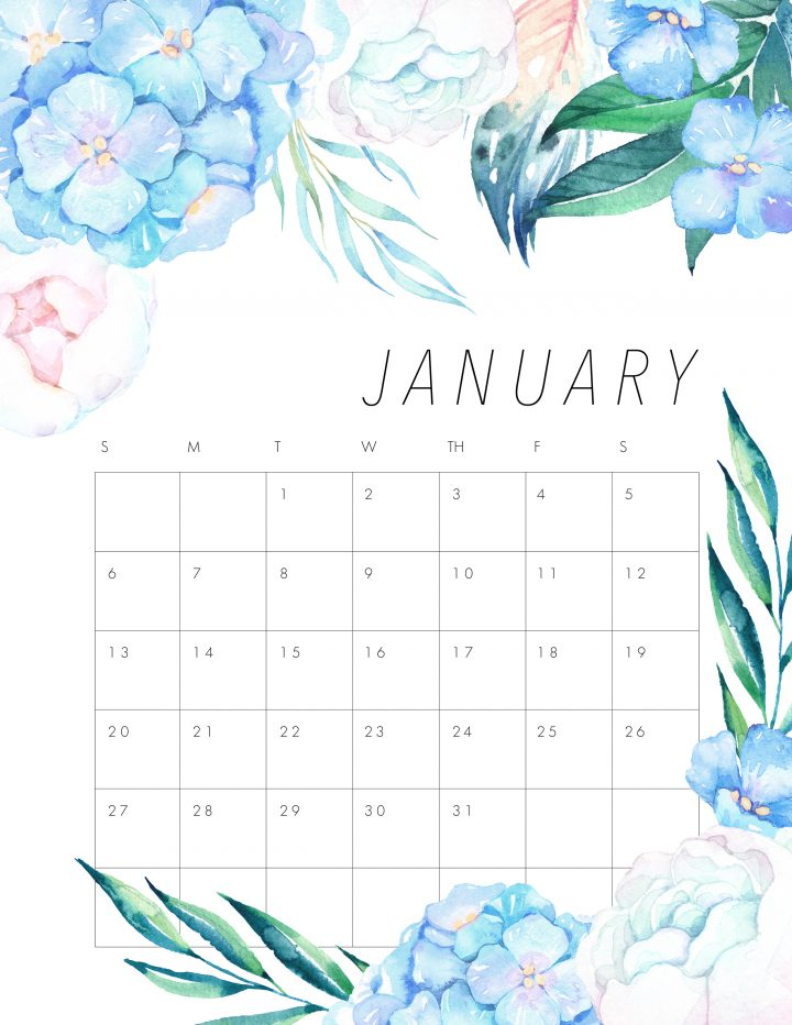 picture regarding Pretty Calendars referred to as No cost PRINTABLE 2019 FLORAL CALENDAR - The Cottage Industry