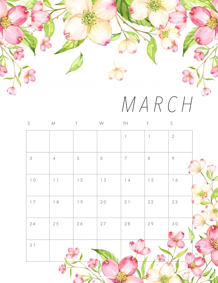 Can Am 2019 >> FREE PRINTABLE 2019 FLORAL CALENDAR - The Cottage Market
