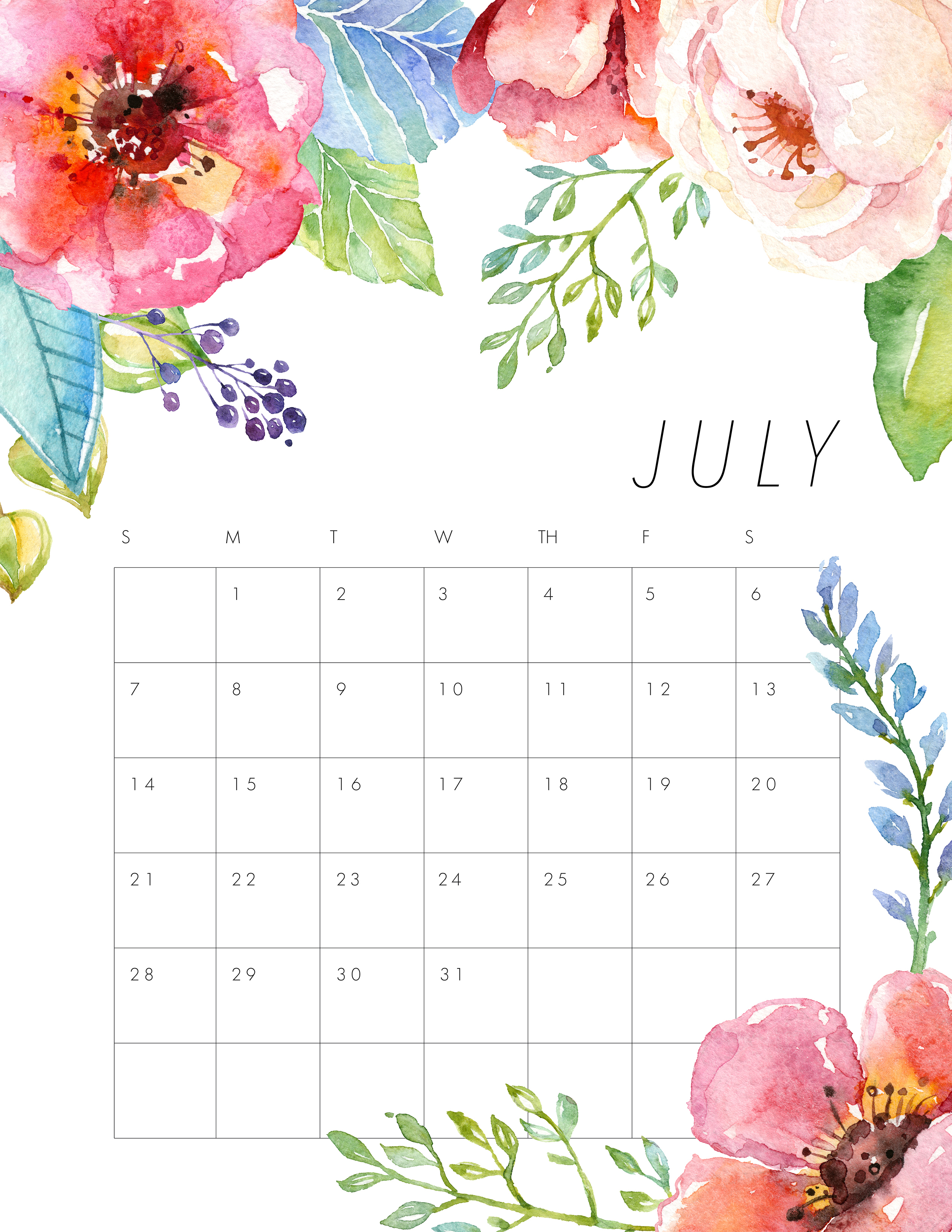 free printable 2019 floral calendar
