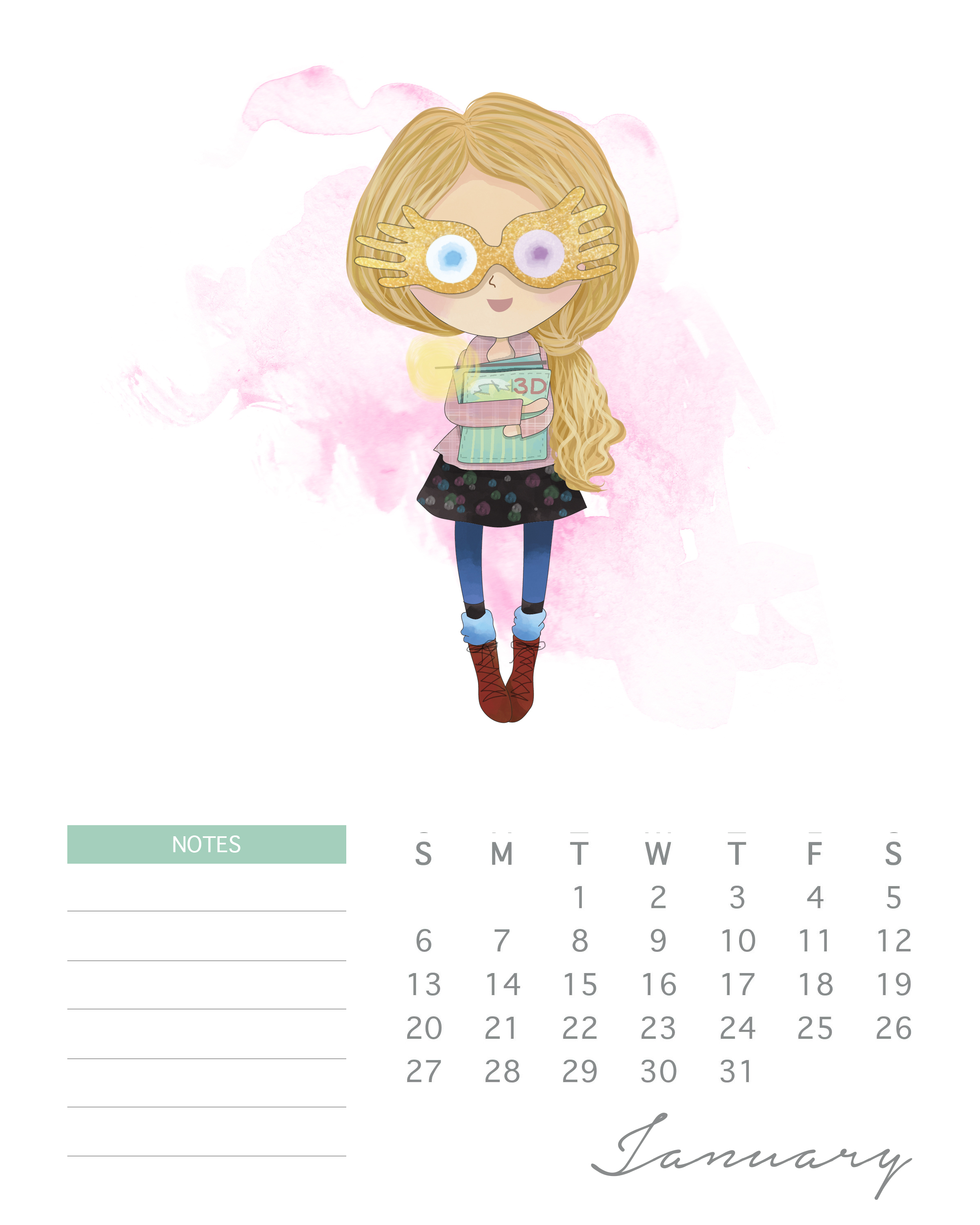 Free Printable 2019 Watercolor Harry Potter Calendar The