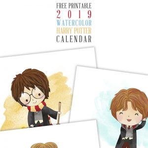 Free Printable 2019 Watercolor Harry Potter Calendar