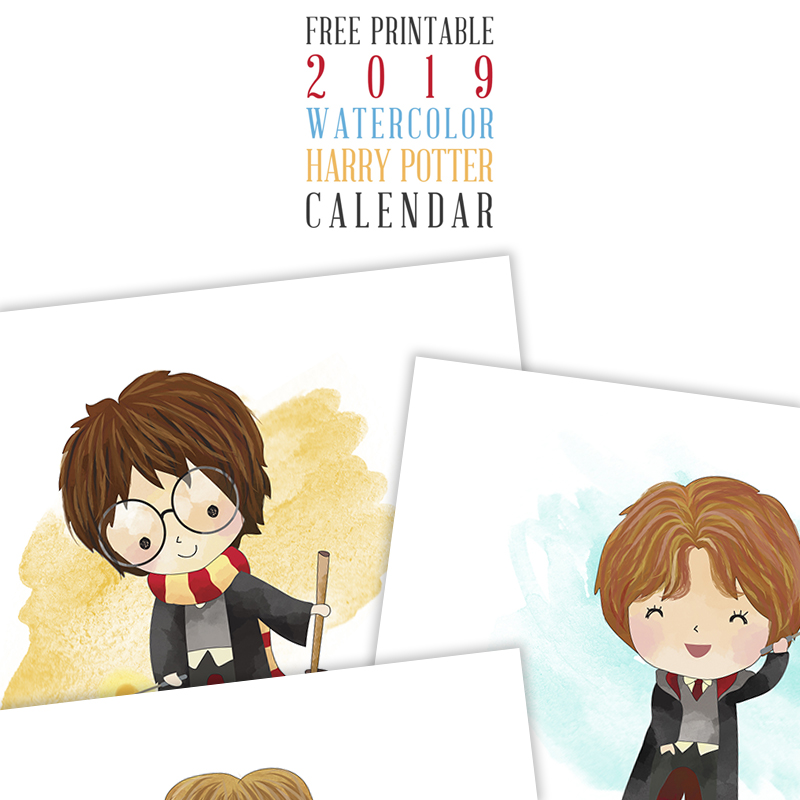 Free Printable 2019 Watercolor Harry Potter Calendar The Cottage