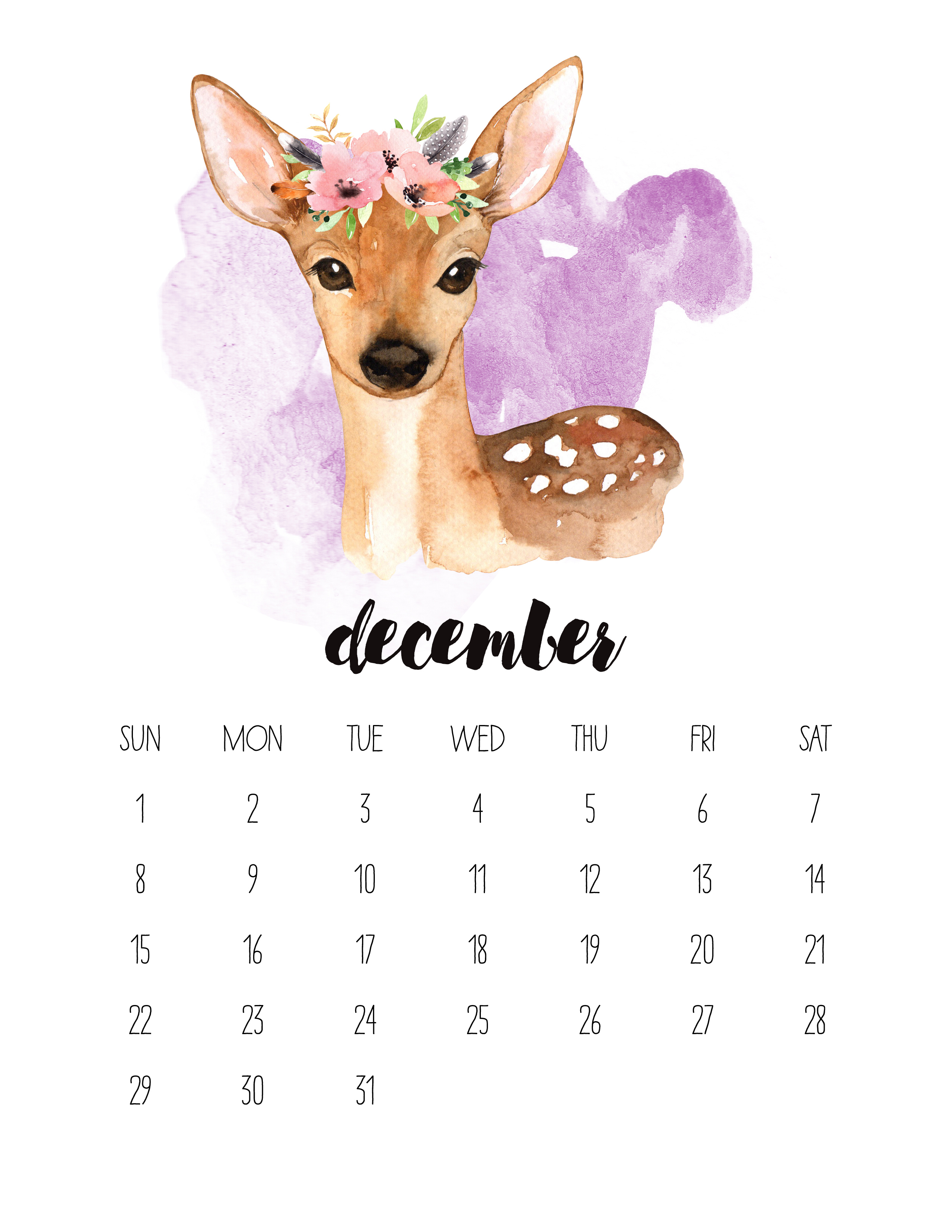 December 2019 Calendar Animals Free Printable 2019 Watercolor Animal Calendar   The Cottage Market